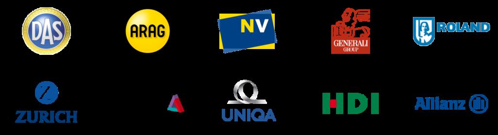 D.A.S. Rechtschutz, ARAG, Niederösterreichische Versicherung, Generali, Roland Rechtsschutz, Zürich Versicherung, Helvetia, Allianz, UNIQA