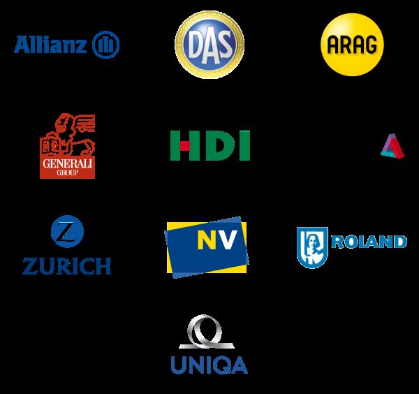 Logos D.A.S. Rechtschutz, ARAG, Niederösterreichische Versicherung, Generali, Roland Rechtsschutz, Zürich Versicherung, Helvetia, Allianz, UNIQA